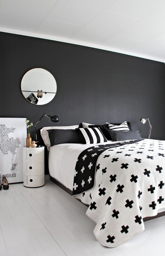 #Modern Bed Room With Black Wall. Decorated With A Variety Of White And  Black , Such As Pillows, Sheets, Shelves, Make The Room Have Beautiful  Looking.