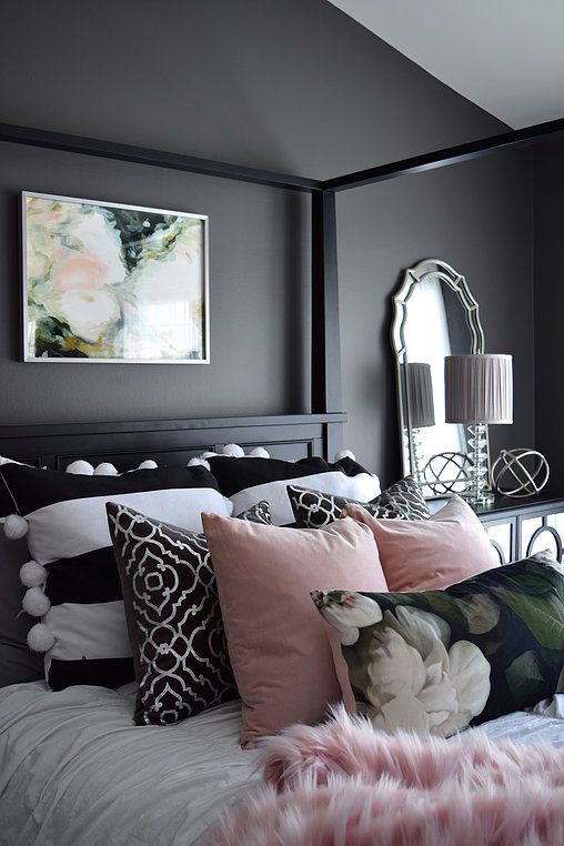10 black bedroom ideas inspiration for master bedroom designs for Bedroom designs pink and black