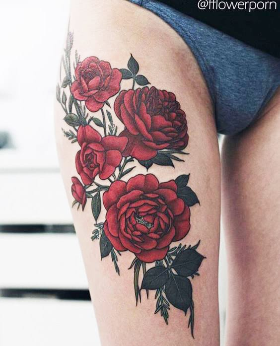 21 most attractive thigh tattoos for women style designs. Black Bedroom Furniture Sets. Home Design Ideas
