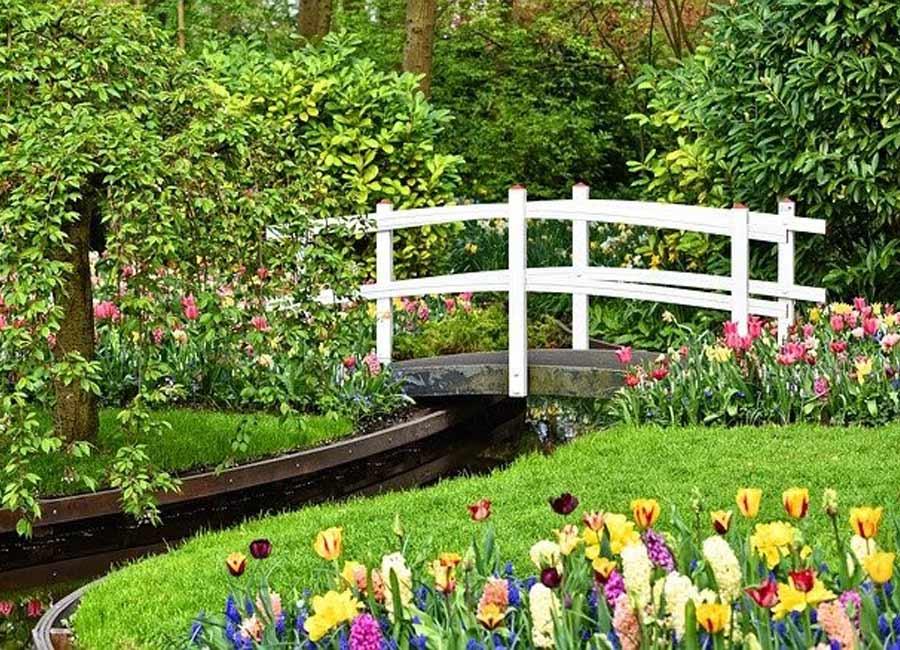 White bridge in the flower garden