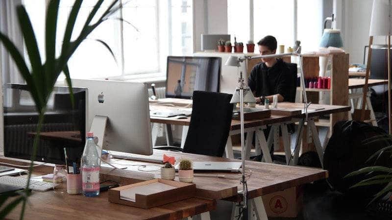 Man working in minimalist office