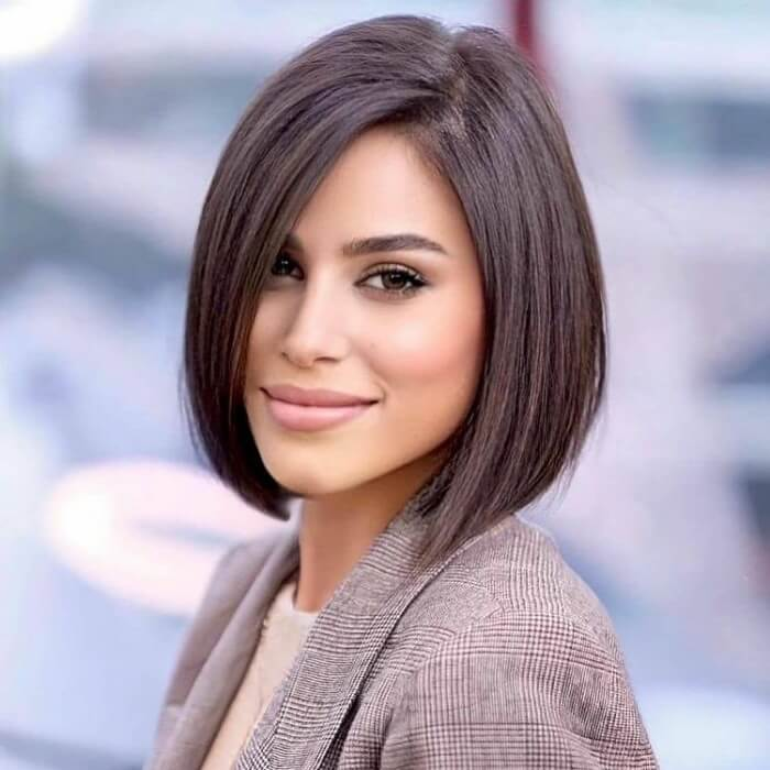 Asymmetrical Bob for Straight Hair and Square Faces